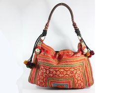 Bohemian shoulder tote bag, Hill tribe Embroidered, Tribal pattern fabric, Vintage look    https://www.etsy.com/listing/99958770/bohemian-shoulder-tote-bag-hill-tribe