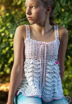 ... as a top for a pre teen.  Sakura Top Crocheted Pattern for Kids 212 by mylittlecitygirl