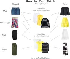A guide to balancing proportions when you wear skirts. This blogger also covers additional rules about how to wear leggings with skirts and which shoes to pair with skirts on the blog post.