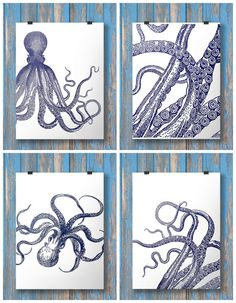 Hey, I found this really awesome Etsy listing at https://www.etsy.com/listing/211420336/nautical-octopus-prints-set-of-four-navy