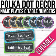 Create a bright and organized classroom with these colorful Polka Dot Chalkboard Table Numbers and Name Tags (Editable). This set includes editable name tag styles and editable table signs.***Click HERE to see the Polka Dot Chalkboard Mega BUNDLE and save 50% off the price of the individual products... Chalkboard Table Numbers, Chalkboard Classroom, Classroom Labels, Classroom Themes, Classroom Organization, Kindergarten Classroom, Classroom Table Numbers, Interactive Bulletin Boards, Table Labels