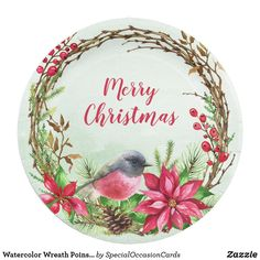 Shop Watercolor Wreath Poinsettia & Bird Christmas Paper Plate created by SpecialOccasionCards. Christmas Holidays, Merry Christmas, Christmas Paper Plates, Special Text, Wreath Watercolor, Party Tableware, Paper Napkins, Poinsettia, Biodegradable Products