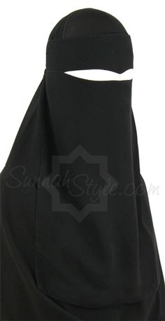 One Piece Widow's Peak Niqab (Black) by Sunnah Style #SunnahStyle #niqabstyle #niqaab