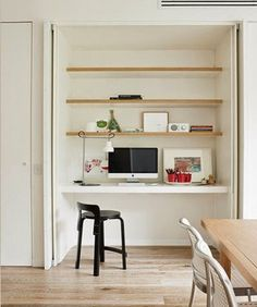 17 Trendy Home Office Nook Daybeds Computer Nook, Desk Nook, Desk Space, Computer Station, Hidden Desk, Built In Desk, Hidden Doors, Hidden Storage, Built Ins