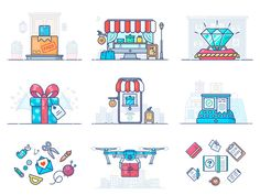 E-commerce Illustrations by Alex Kunchevsky for OUTLΛNE on Dribbble Creative Portfolio, Special Delivery, Le Web, Flat Design, Icon Set, Creative Inspiration, Ecommerce, Kids Rugs, Graphic Design
