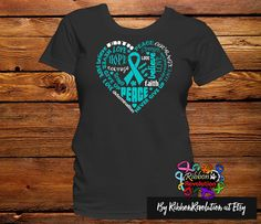 Teal Awareness Heart Ribbon Shirts for causes such as Gynecologic Cancer, Interstitial Cystitis, Myasthenia Gravis, Ovarian Cancer, PCOS (Polycystic ovary syndrome), Polycystic Kidney Dsease, Peritoneal Cancer, Scleroderma and Tourette Syndrome.