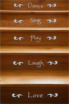 Happy Words Stair Riser Vinyl Decals - 12 Stairs SALE. $30.00, via Etsy.