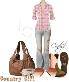 """""""Destroyed Jeans and Plaid Shirt"""" by cindycook10 on Polyvore"""