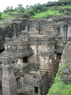 The Ellora Caves are an impressive complex of Buddhist, Hindu and Jain cave temples built between the 6th and 10th centuries AD near the ancient Indian village of Ellora.  The caves have a slightly less dramatic setting than those at Ajanta but more exquisite sculptures.  Ellora is a World Heritage Site and the most visited ancient monument in Maharashtra State, India.