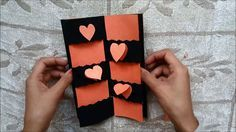 This tutorial video on how to make a card with disappearing message (secret message card). Message Secret, Message Card, Handmade Birthday Cards, Greeting Cards Handmade, Valentine Day Cards, Valentines, Waterfall Cards, Cards For Boyfriend, Boyfriend Girlfriend