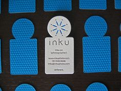 Business card by Dolce Press for Inku Yo. Love the notion that the press and boundaries for color are not one and the same. Texture from the press purely as pattern/graphic is great.