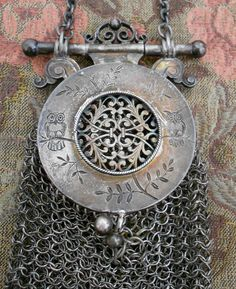 Vintage Silver Chatelaine Asian Mesh Purse by etherealtreasures