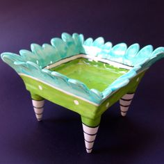 funky ceramic dish turquoise & lime with striped legs by maryjudy