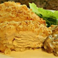 Easy Crispy Baked Chicken Recipe. Best one. Add to the crushed saltines; so far I have tried: parmesan, Jane's Crazy salt, Montreal seasoning (reduced sodium).