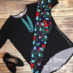 Super cute LuLaRoe outfit with pattern mixing!  Irma + Leggings.
