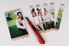 Puzzle photo avec bâtonnets en bois - Activités enfantines - 10 Doigts Puzzle Photo, Puzzles, Photos, Polaroid Film, Invitations, Active, Diy, Bracelets, Creative