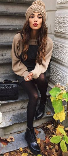 cozy outfit idea : knit hat + sweater + dress + bag + boots