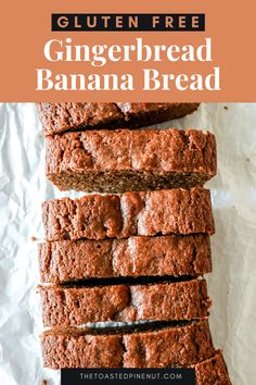 Gingerbread Banana Bread is moist, and fluffy with rich molasses and warm gingerbread spices. Naturally gluten free and dairy free! thetoastedpinenut.com #thetoastedpinenut #gingerbread #bananabread #glutenfreegingerbread Gingerbread Banana Bread, Gluten Free Gingerbread, Gluten Free Quick Bread, Gluten Free Recipes, Keto Recipes, Banana Snacks, Banana Recipes, Baby Food Recipes, Muffin Recipes