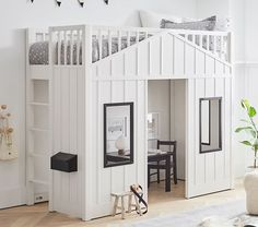 Bring playtime and bedtime together with our Modern Farmhouse Loft Bed! Natural wood and clean lines give this bed a rustic yet contemporary feel. HOW IT IS CONSTRUCTED Crafted from solid poplar wood, MDF, plywood and pine wood. Slat roll foundation; do not use box spring on loft. Kiln-dried wood helps prevent warping, splitting, cracking and developing mildew. Finished in child-safe, water-based Simply White with Black accents; which provides durability, depth of color and richness to each… Treehouse Loft Bed, Playhouse Loft Bed, Loft Bed Stairs, Modern Playhouse, Up House, Girl House, House Beds For Kids, Farmhouse Bunk Beds, Childrens Beds