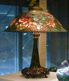Rose Lamp with Bronze Base   Corning Museum of Glass Tiffany Furnaces ca 1906