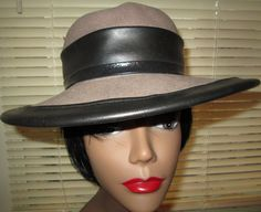 Fawn Felt Hat with Leather Brim/Trim/ Bow/ by MISSVINTAGE5000, $48.00