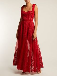 Lyst - Elie Saab Polka-dot Tulle And Chantilly-lace Gown in Red Event Dresses, Casual Dresses, Prom Dresses, Tulle Dress, Dress Skirt, Chiffon Skirt, Pretty Dresses, Beautiful Dresses, Fancy Gowns
