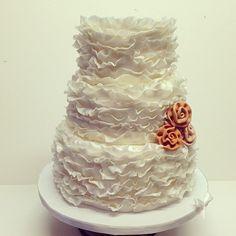 Ruffle wedding cake #polkadotscupcakefactory