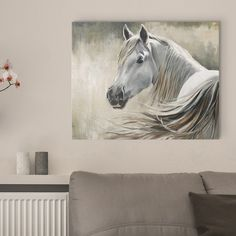 "Neutral white horse art - ""Kentucky"" canvas print by Sydney Edmunds available on Great BIG Canvas."
