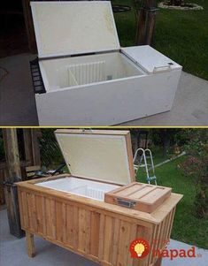 Old Refrigerator Repurposed To Patio Ice Chest! Old Refrigerator Repurposed To Patio Ice Chest! Patio Cooler, Outdoor Cooler, Outdoor Fire, Unusual Furniture, Diy Furniture, Upcycled Furniture, Furniture Projects, Furniture Showroom, Wicker Furniture