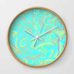 Turquoise symbols Wall Clock by Ludovico Misino - Ludodesign | Society6 Reloj de pared / Ludovico Misino - Ludodesign | Society6