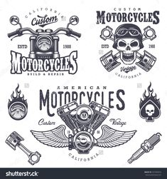 Set Of Vintage Motorcycle Emblems, Labels, Badges, Logos And Design Elements. Monochrome Style. Stock Vector Illustration 327403916 : Shutterstock