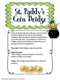 Seasonal STEM: St. Paddy's Coin Bridge…fun engineering activity from More Than a Worksheet $