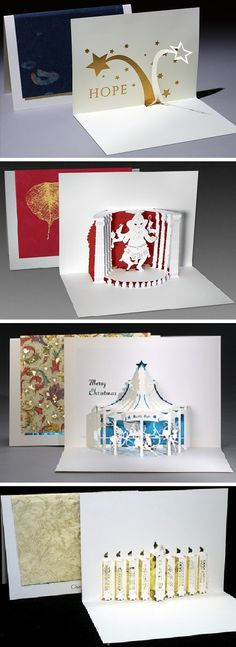 "084. Joyce Aysta: ""I make origami architecture (pop-up) greeting cards.  My Los Angeles, San Francisco, Washington DC, and Just for Fun series have no message and come in boxed assortments that make great gifts. My Christmas and Judaica cards celebrate the Holidays.  I can personalize them with your name and special message.   My cards are representational, rectilinear and monochromatic, while my new sculpture is abstract, curved and colorful. Come and see it."" www.liveyourdreamsdesigns.com"