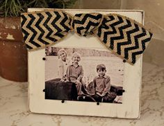 Wooden Frame Tutorial: Use a brown stamp pad after sanding edges for an antiqued look