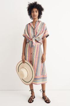 madewell rainbow stripe tie-front shirt worn with rainbow stripe midi skirt + the boardwalk lace-up sandal. call 866 544 1937 or email shopfirst@madewell.com to pre-order.