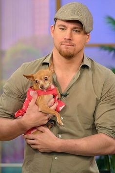 handsome men holding cute doggies (click away!)
