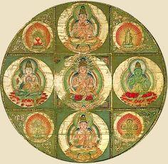 Closeup from Kongōkai (Diamond World) Mandala Image in center is Dainichi Nyorai Kyōgoku, Heian Period, 9th Century AD