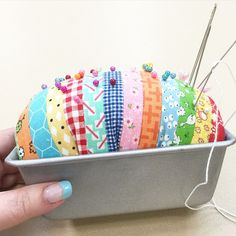 "I designed this ""sliced bread"" pincushion especially for my Farm Girl Vintage workshops...I used a mini loaf pan and ""sliced my bread"" 1"" wide to finish at 1/2"" each."