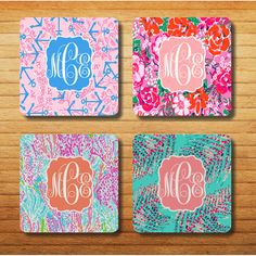 NEW Lilly Pulitzer pattern colorful monogrammed by Breezyprints, $10.95