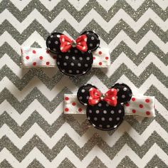 Polkadot Minnie Mouse clippies-Disney Collection- more comming soon! #daintyhairaccessories #swarovskicrystals #disneyhairaccessories #disneyhairclips #babyheadbands #minniehairclips #polkadotminniemouseclippies