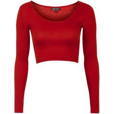 TopShop Raw Edge Scoop Crop ($14) ❤ liked on Polyvore featuring tops, crop tops, red, topshop tops, jersey top, scoop top, long sleeve jersey top and reds jerseys