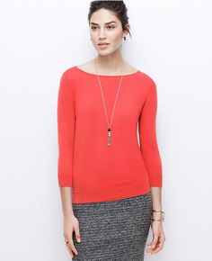 Primary Image of 3/4 Sleeve Boatneck Sweater