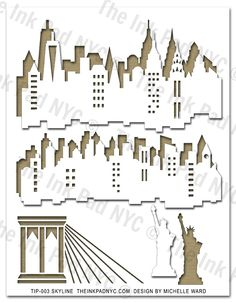 """Skyline"" Stencil: Designed by Michelle Ward exclusively for The Ink Pad. Shop online at www.theinkpadnyc.com"