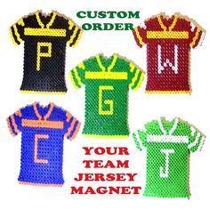 Order your custom made to order sports team jersey magnet before today & receive 15% off purchase before shipping! Great gift for the sports fans in your life. BEAD MAGNET  Sports Team Jersey Made To by CreativeXpression1, $15.00
