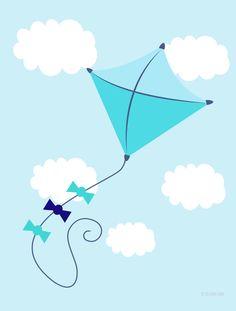 pipa, meninos, céu, pipa azul, decor nuvens, kids, baby, bebê, boys, quadro pipa, poster pipa, brinquedo, decoração, voar, céu azul. - PIPA AZUL » Infantil