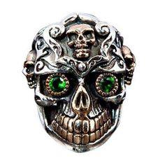 Emerald Green Stone Mexican Sugar Skull Ring 925 by Bikerringstore Skull Jewelry, Gothic Jewelry, Skull Rings, Men's Jewelry, Silver Jewelry, Jewellery, Emerald Green Stone, Skull Wedding Ring, Wedding Rings