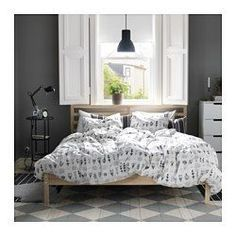 IKEA - TARVA, Bed frame, Queen, Luröy, , Made of solid wood, which is a durable and warm natural material.If you oil, wax, lacquer or stain the untreated solid wood surface it will be more durable and easy to care for.17 slats of layer-glued birch adjust to your body weight and increase the suppleness of the mattress.