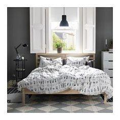Ikea TARVA bed – For a bedroom completely in your own design. Ikea TARVA bedroom series build of untreated solid … Scandinavian Bedroom, Scandinavian Furniture, Scandinavian Style, Ikea Bedroom, Bedroom Decor, Gray Bedroom, Master Bedroom, Cama Ikea, Steel Bed Frame