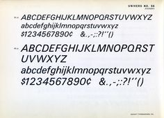 Univers 56 type specimen