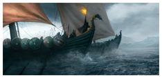 The Iron Fleet may not be the largest navy in Westeros, but certainly the one with the most vicious and best armoured sailors. The Ironborn believe in t. The Iron Fleet Fantasy Rpg, Medieval Fantasy, Fantasy World, Ragnar, Sunset Sea, Game Of Thrones Art, Viking Ship, Pirate Life, Mother Of Dragons